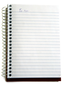image of a lined notebook with the words To Do list