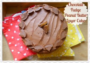 Chocolate fudge peanut butter cup cake
