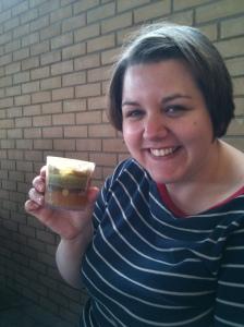 Enjoying a glass of Butterbeer