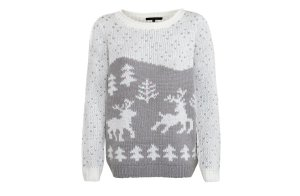 Reindeer snow scene Christmas jumper from New Look
