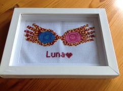 My finished Luna cross stitch given to a friend as a present