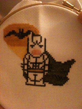 My work in progress cross stitch of Batman