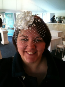 I tried on this beautiful hatlette at Thrumpton Hall wedding fayre