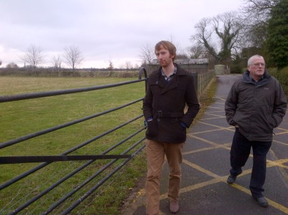 Nial and his dad walking to Cropwell Butler village hall