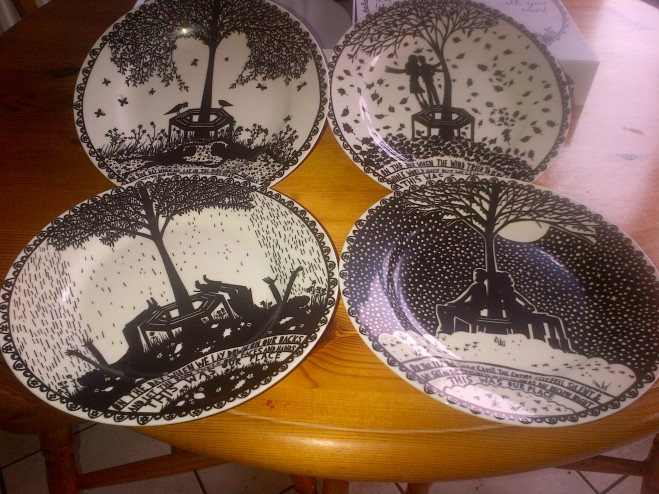 Our new Rob Ryan plates - an engagement present!