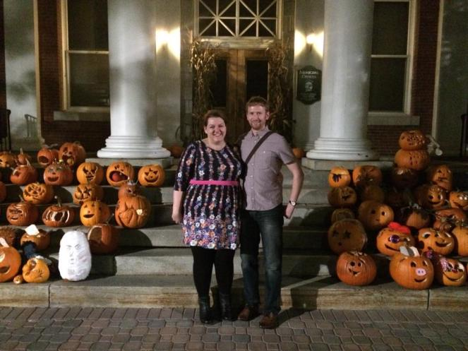 On our honeymoon with the pumpkin display at the Town Hall in Stowe, Vt