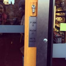 Love this sign on the door at Goswell Road