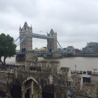 View of Tower Bridge from the wall walk at the Tower of London