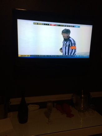 Chilling out watching the Bruins before bed