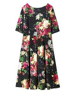 Floral print textured dress with pleated skirt - Simply Be