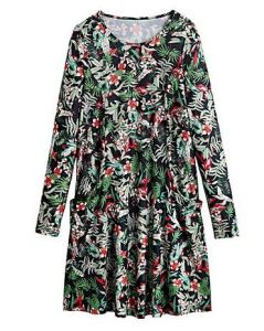 Botanical print jersey swing dress - Simply Be