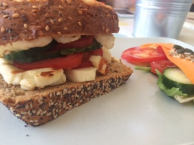 Halloumi burger in Flying Goose cafe, Beeston