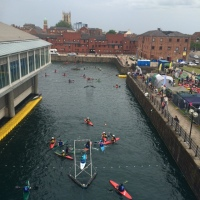 Watching canoe polo in Hull