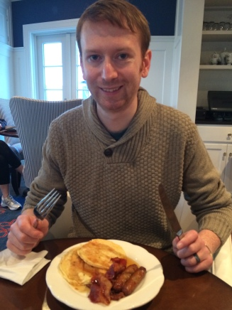 Nial so excited about breakfast