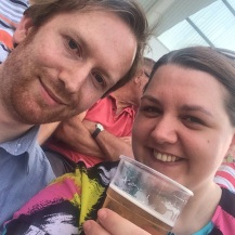 Enjoying a pint with the cricket