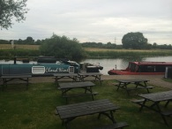 The river at the bottom of the beer garden at The Plough, Normanton on Soar
