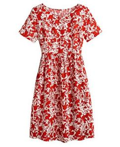 Red and white floral print smock dress - Simply Be